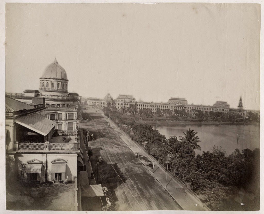 View of General Post Office and Writers' Building (in distance) - Calcutta (Kolkata) c1880's