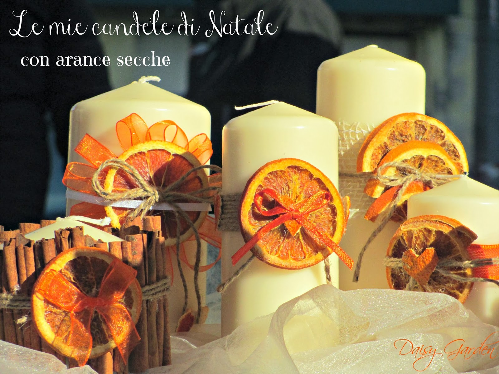 Daisy garden le mie candele decorate con le arance for Candele decorate