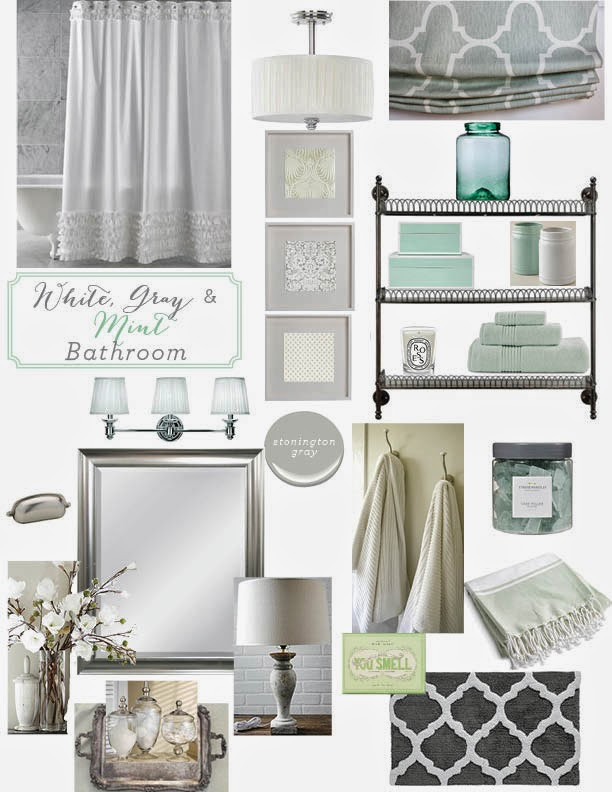12th and white guest bath inspiration gray white mint for Grey and white bathroom decor
