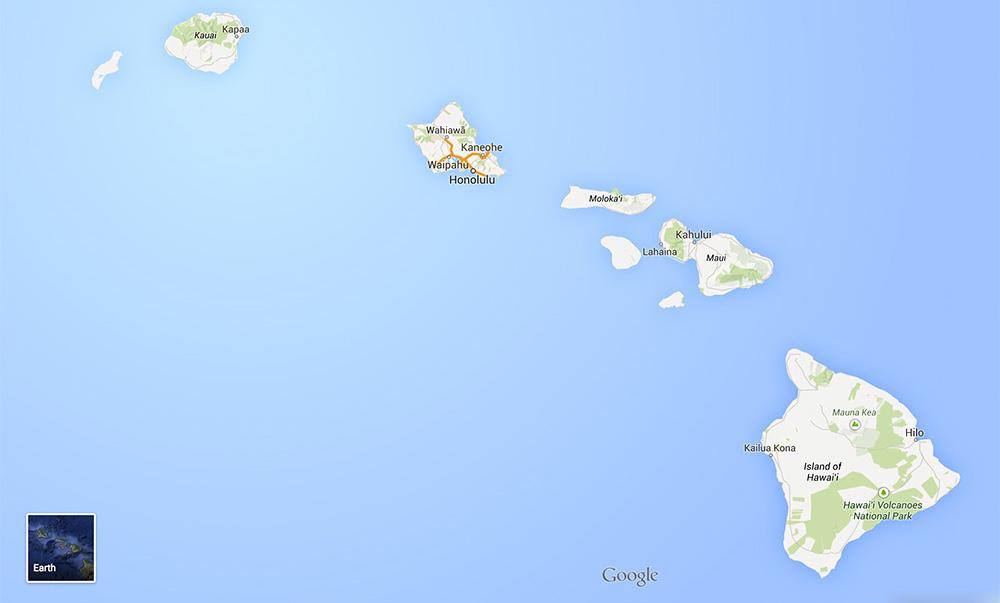 Hawaii islands Mauri, O'ahu, Big Island Kauai