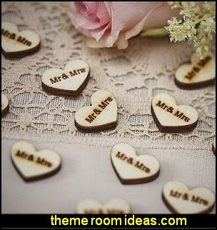 Mr & Mrs Wooden Heart Rustic Table Party Confetti