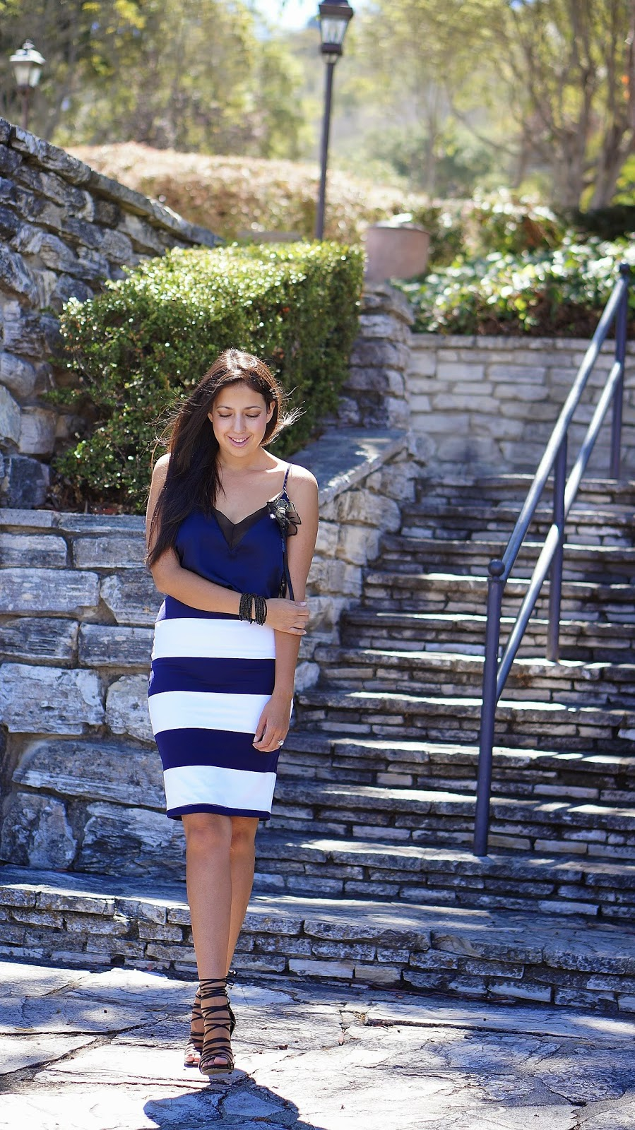 Shoemint Strappy heels, Navy and White Striped Pencil Skirt, Navy Blue Lace camisole