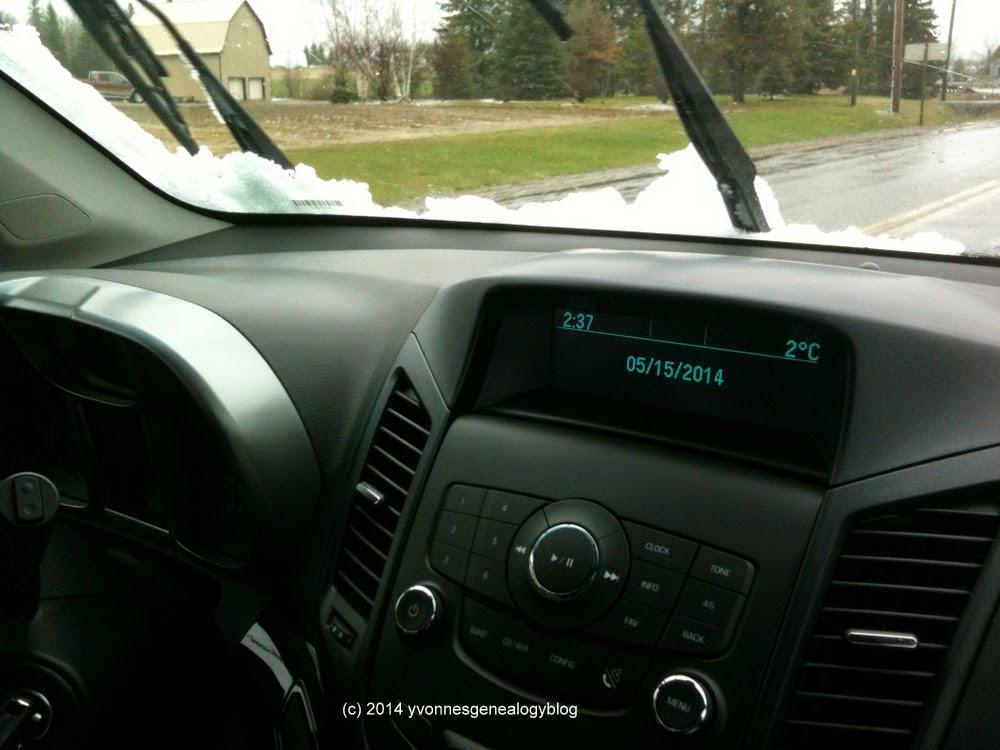 Snow on rental car in Timmins Ontario