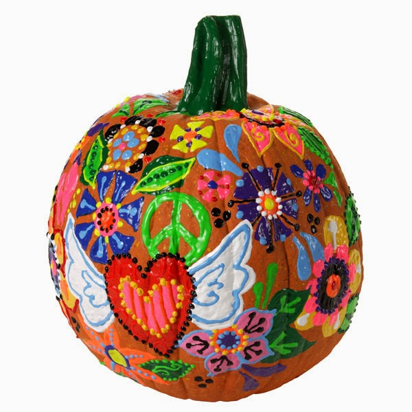 Colorful Peace Sign Pumpkin