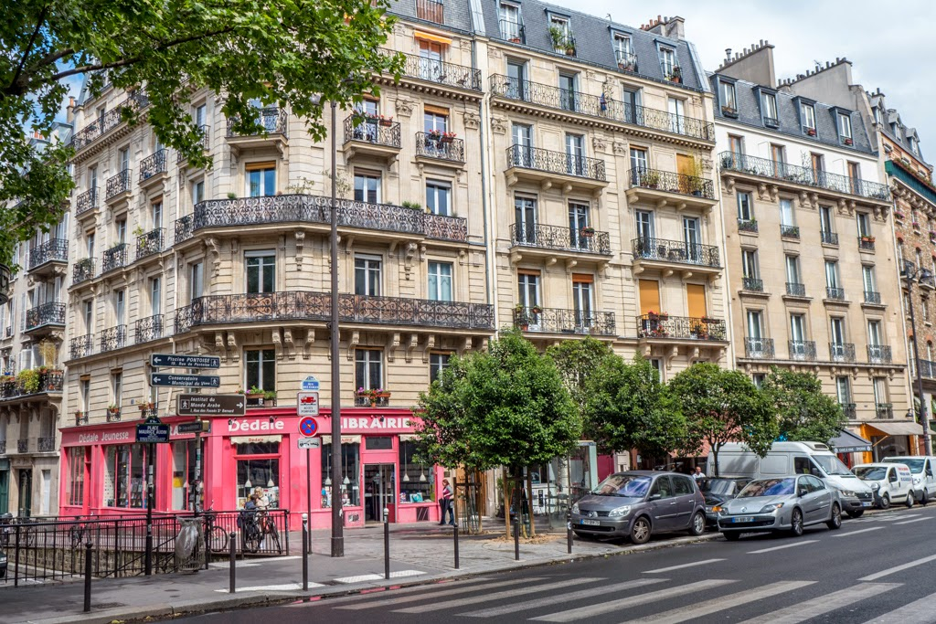 Paris France Latin Quarter street scene
