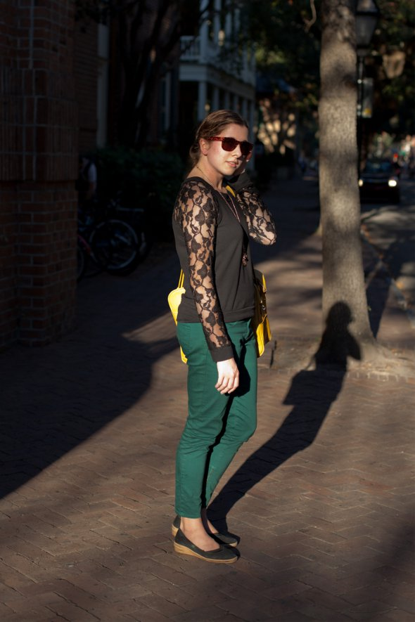 tops with lace, green pants, yellow purse, yellow bag, southern street style, street style in charleston, fashion in charleston, fall style in charleston, fall style in the south, fall style in south carolina, womens fashion in the south