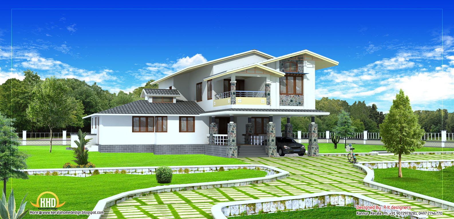 Exterior collections kerala home design 3d views of for Home garden design in kerala