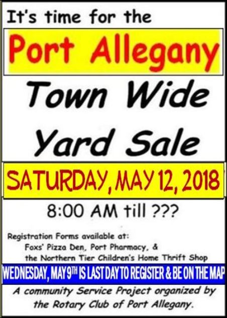5-12 Port Allegany Town Wide Yard Sale