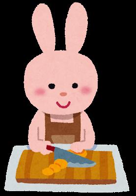料理をするうさぎのキャラクターのイラスト