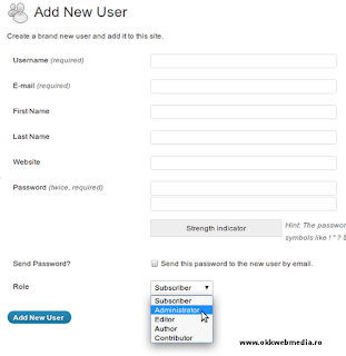 adaugare administrator wordpres - tutoriale OWM