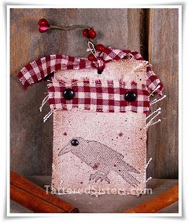 Primitive Crow Fabric Hangtag