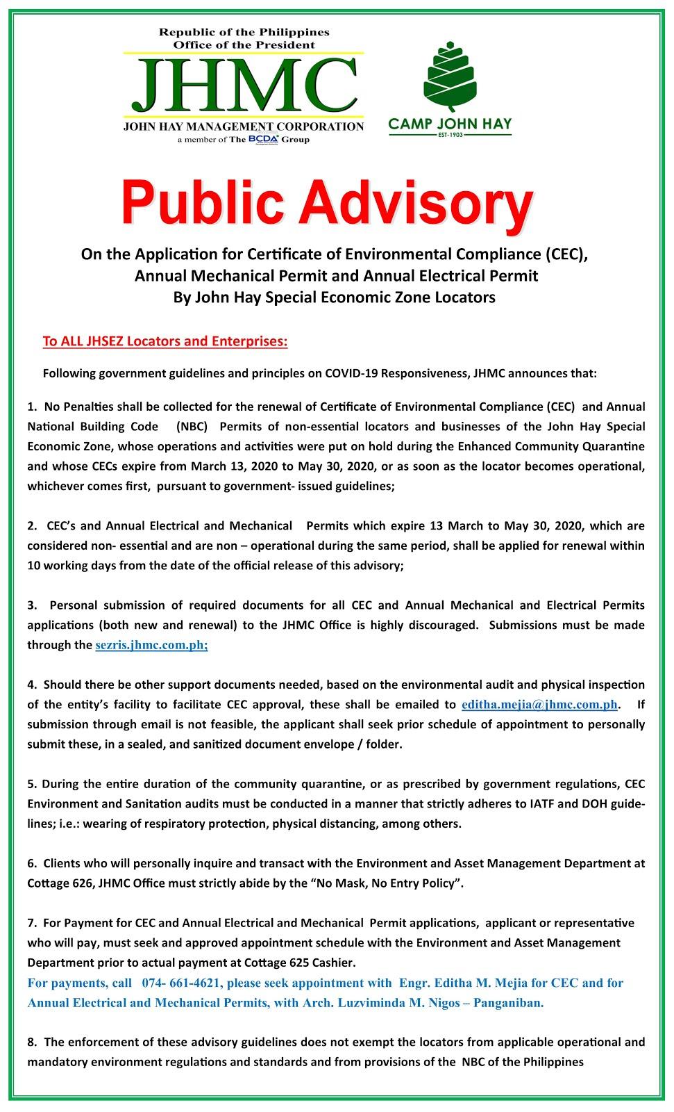 JHMC Public Advisory