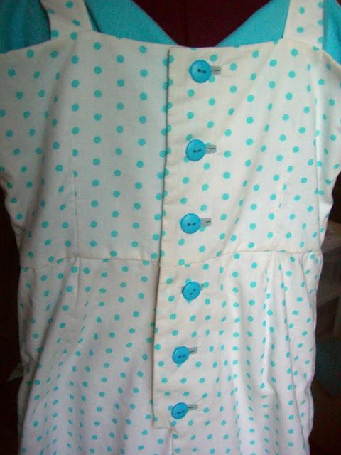 vintage romper bound buttonholes