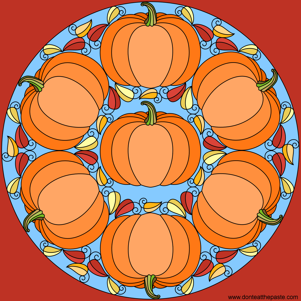 Pumpkin mandala for autumn- blank version available to color
