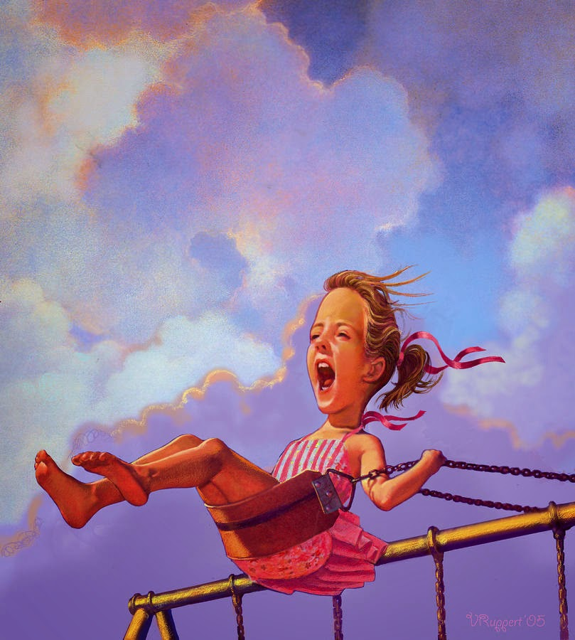 'Girl on a swing' by V. Ruppert
