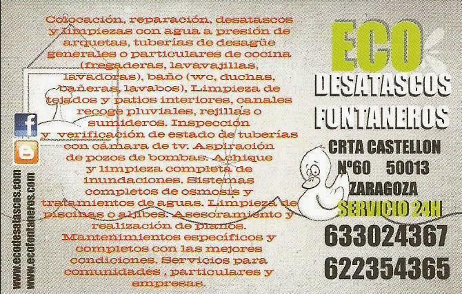 ECO SERVICIOS FONTANERIA DESATASCOS