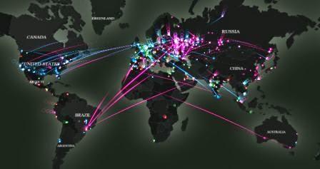 Inilah bentuk ancaman walware di bumi, malware real-tima map