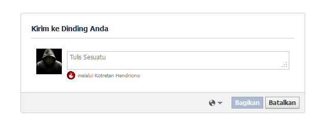 Update Status dari Aplikasi Facebook