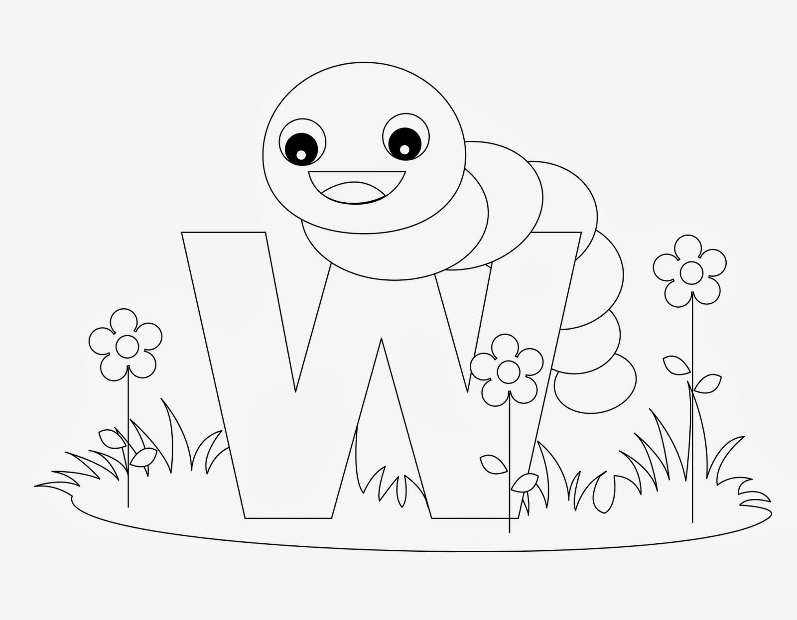 printable Alphabet Coloring Pages Worm