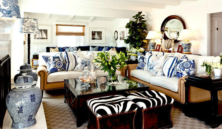 20 blue and white family living rooms for Barclay home design