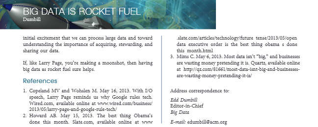 big data as rocket fuel references