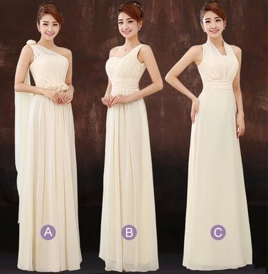Simple-Three-Design Beige Bridesmaids Dress
