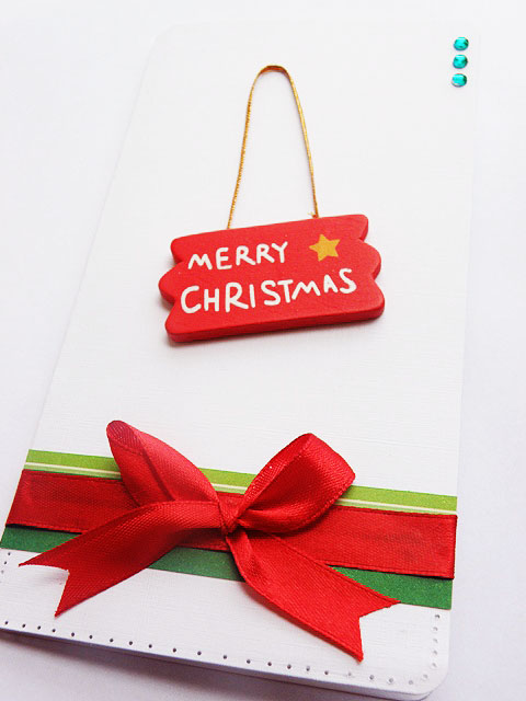 The Merry Christmas Card, red ribbon
