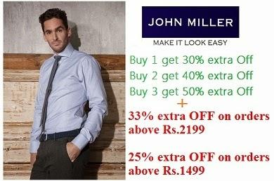 Bumper Discount on John Miller Shirts: Flat 30% Off + Buy 1 get 30% OFF | Buy 2 get 40% OFF | Buy 3 get 50% OFF  + Extra 33% or 25% Off @ Flipkart
