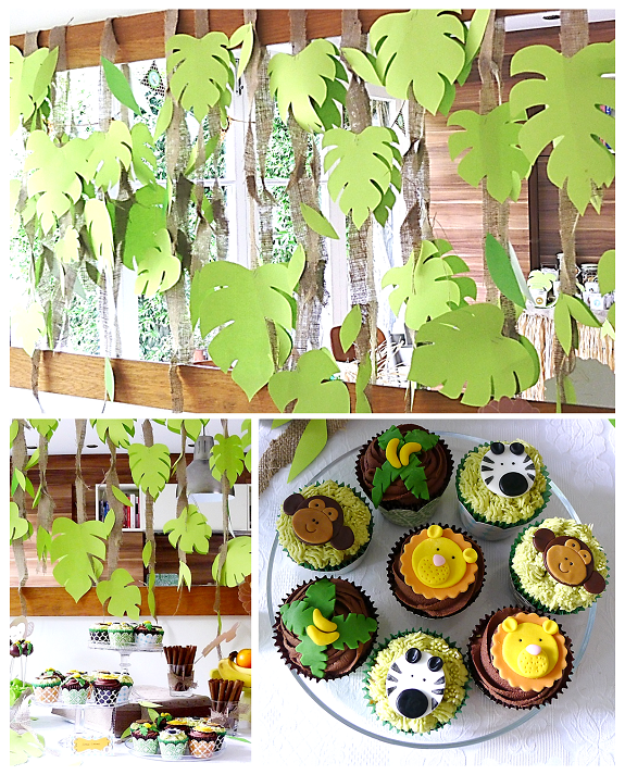 Vanilla frost jungle cupcakes and cake pops for African party decoration ideas
