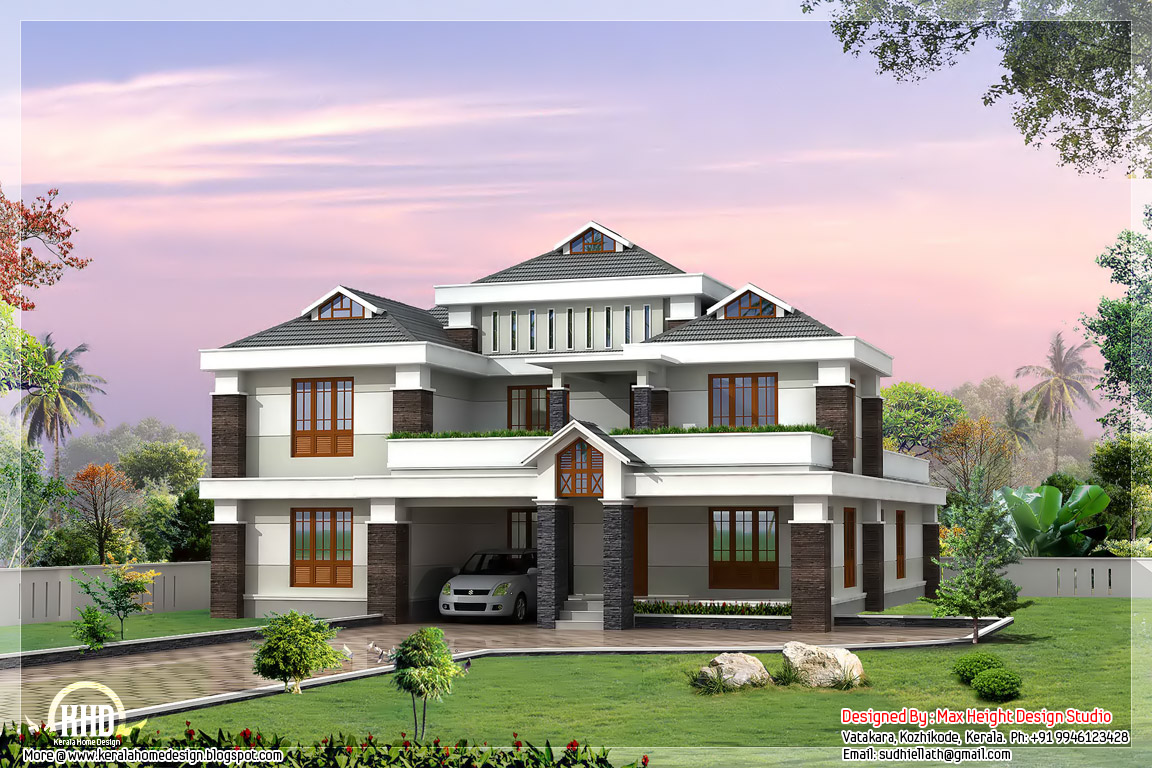 home design ideas 3500 sq.ft. cute luxury Indian home design - Kerala home