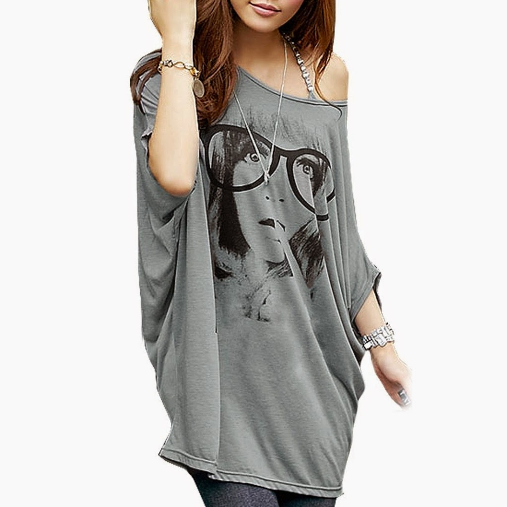 Women Batwing Sleeve Portrait Letters Print Front Tunic Shirt