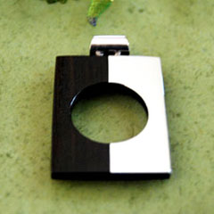 silver wood pendant