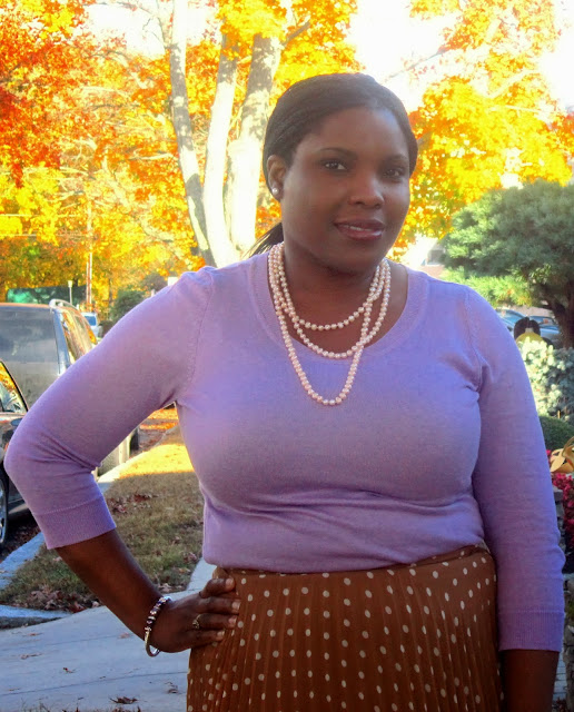 Pearl Necklace, Pleated Skirt, Polka dot skirt