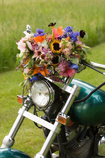 Decorate the motorcycle get-away vehicle with flowers!