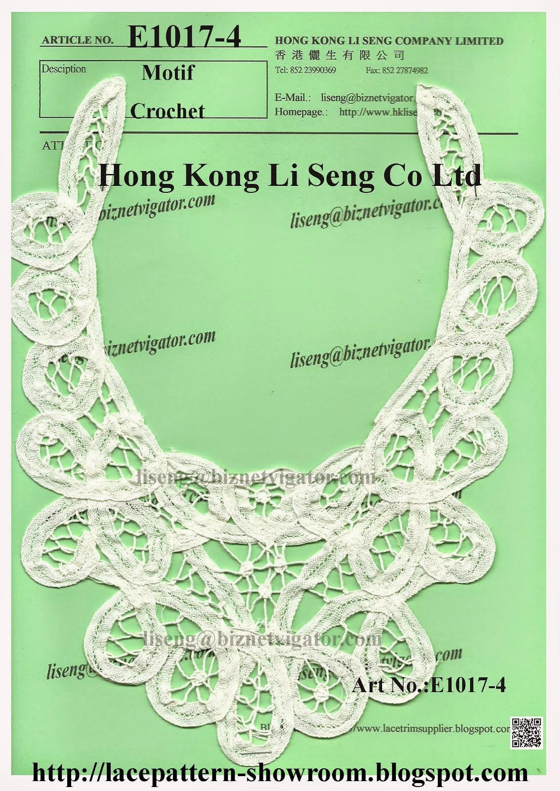 Chinese Handmade Crochet Motif and Applique Manufacturer - Hong Kong Li Seng Co Ltd