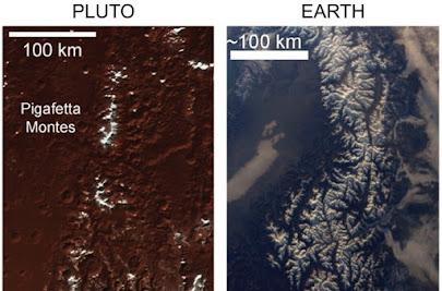 کوههای پوشیده از برف پلوتو در فرآیندی متفاوت با زمین پدید آمدهاند