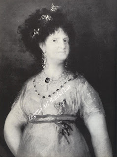 Queen Maria Luisa of Spain, a portrait painted by Goya in 1799, showing her wearing a necklace containing a large blue diamond. Some historians believe this to be the Hope Diamond, the whereabouts of which were unaccounted for between 1792, when it was stolen from the French Treasury, and 1830, when it reappeared in a London salesroom.