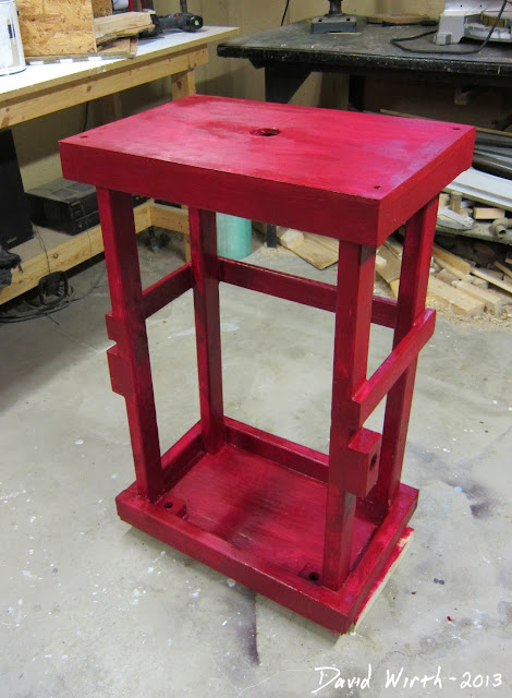 painted, finished, red miter saw stand