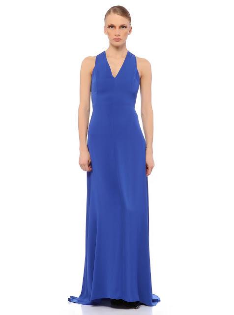 v yaka mavi abiye, gece elbisesi uzun
