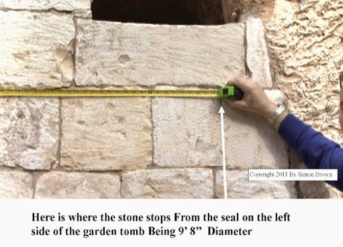 "Here is where the stone stops from the seal on the left side of the garden tomb being 9'8"" diameter"