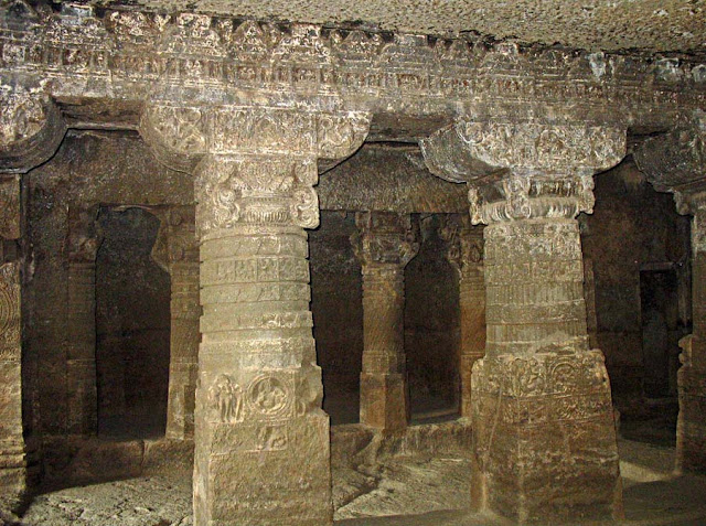 Aurangabad cave sculpted pillars