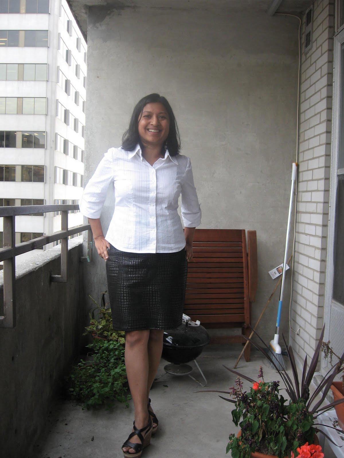 Weekend Crafting White Shirt Black Skirt
