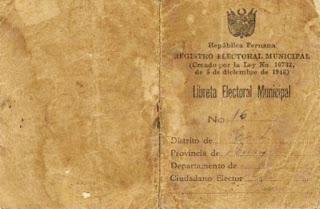 Libreta Electoral Municipal de 1946
