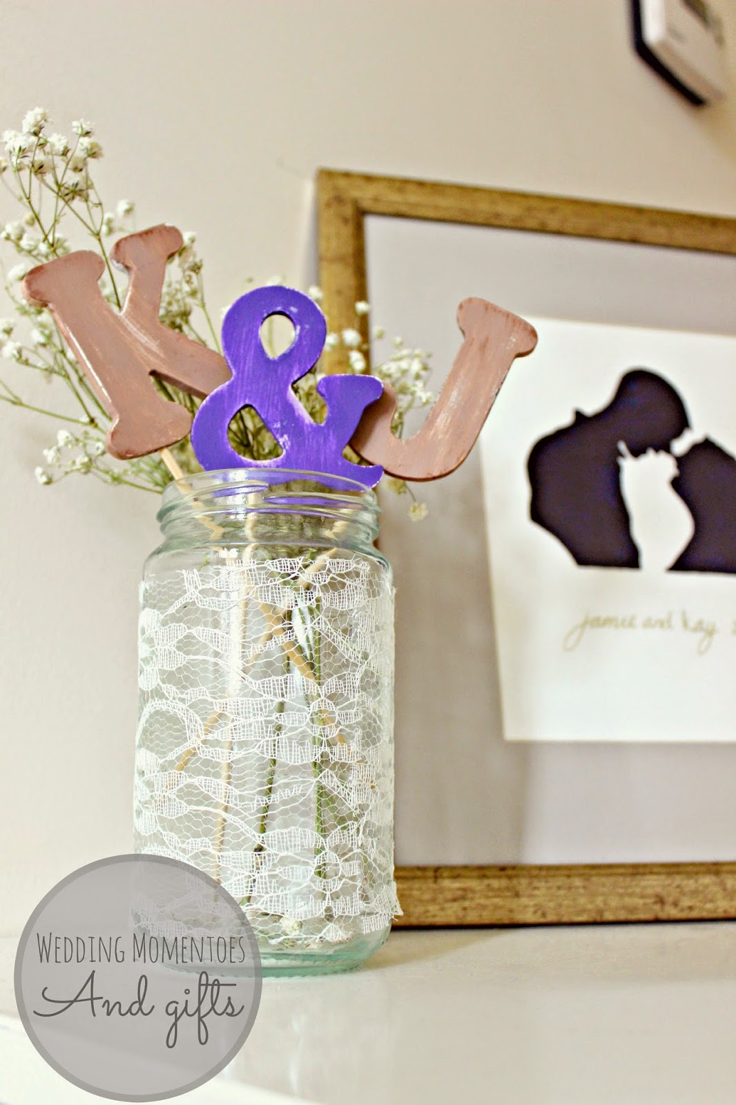wooden letters and gypsophila