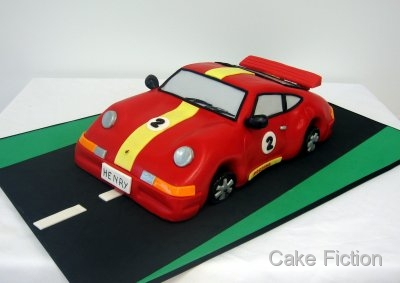 Cake Fiction Porsche 911 Racing Car Birthday Cake
