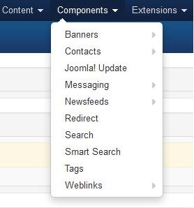 Joomla, menú Componentes