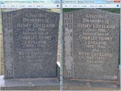 A comparison of two photos of the same gravestone - described below.