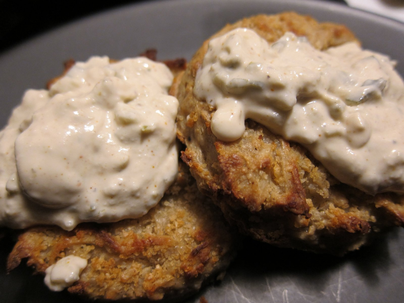 Vegan Crab Cakes with Baked Russet Potato