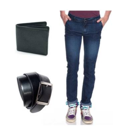 Buy Fashion Denim Light Blue Jeans With Free Belt And Wallet at Rs.270