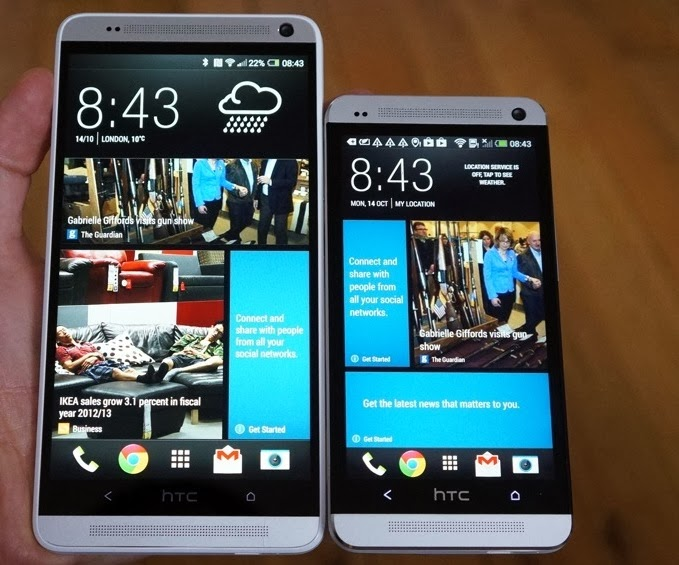 HTC One Max size comparison with One